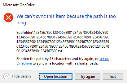 We Can't Sync This Item Because The Path Is Too Long - Onedrive for
